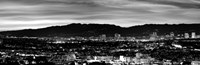 High angle view of a city at dusk, Culver City, Santa Monica Mountains, California Fine Art Print