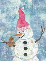 Snowman with Owl Fine Art Print