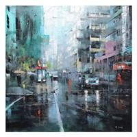 Montreal Turquoise Rain Framed Print