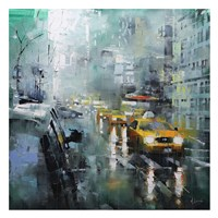 New York Rain Framed Print