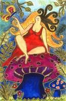 Big Diva Fairy On Mushroom Fine Art Print