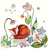 Fox Napping In The Garden Fine Art Print