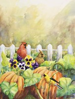 Cardinals in Pumpkin Patch Fine Art Print