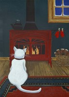 Mittens Warming By The Fire Fine Art Print