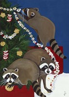 Christmas Raccoons Fine Art Print