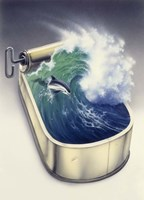 Dolphin In Wave Fine Art Print