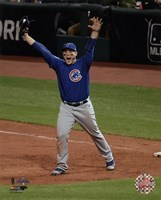 Anthony Rizzo celebrates the final out of Game 7 of the 2016 World Series Fine Art Print