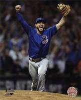 Kris Bryant celebrates the final out of Game 7 of the 2016 World Series Fine Art Print