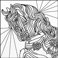 Carousel Pony 2 Lineart Fine Art Print