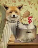 Fox And Chicken Fine Art Print