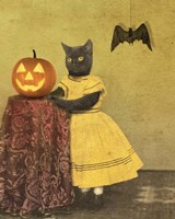 Pumpkin And Cat Fine Art Print