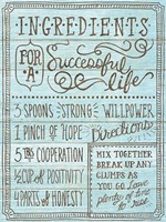 Ingredients For Life I Blue Fine Art Print