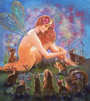 Fairy And The Velveteen Rabbit Fine Art Print