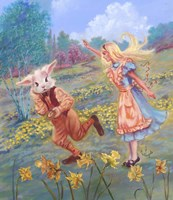 Alice And White Rabbit Fine Art Print