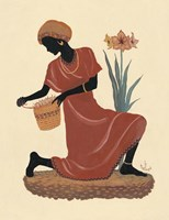 Kneeling Left Weaving Basket - Orange Dress Fine Art Print