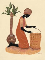 Kneeling Right Weaving Basket - Orange Dress Fine Art Print