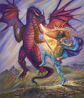 Blue Knight And Dragon Fine Art Print