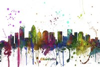 Charlotte NC Skyline Multi Colored 1 Framed Print