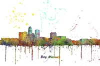 Des Moines Iowa Skyline Multi Colored 1 Fine Art Print