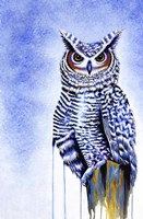 Great Horned Owl In Blue Fine Art Print