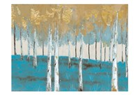 Golden Birch Ocean Fine Art Print