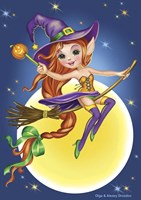 Witch on a Broom Fine Art Print
