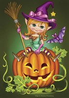 Witch with a Broom on a Pumpkin Fine Art Print