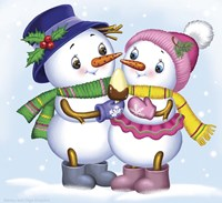 Two Snowmen Fine Art Print