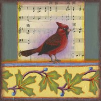Cardinal on Music Notes 1 Fine Art Print