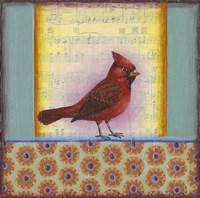 Cardinal on Music Notes 2 Fine Art Print
