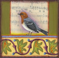 Bird on Musical Notes 1 Fine Art Print
