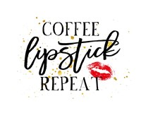 Coffee Lipstick Repeat Fine Art Print