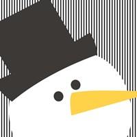 Snowman on Stripes Fine Art Print