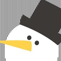 Snowman on Stripes II Fine Art Print