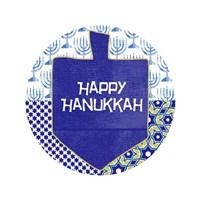 Happy Hanukkah Round I Fine Art Print