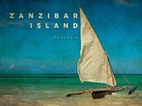 Vintage Zanzibar Island, Tanzania, Africa Framed Print