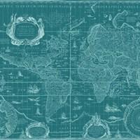 Blueprint World Map, teal Fine Art Print