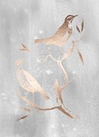 Rose Gold Foil Birds I on Grey Wash Fine Art Print