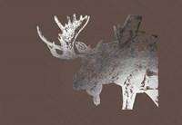 Silver Foil Moose on Bitter Chocolate Fine Art Print
