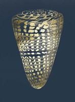 Gold Foil Shell I on Cobalt Fine Art Print