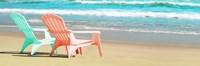 Bright Adirondak Chairs on the beach Fine Art Print