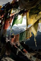 Prayer flags on Summit of Gokyo Ri, Everest region, Mt Everest, Nepal Fine Art Print