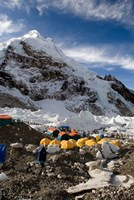 Tents Scattered along Khumbu Glacier,  Mt Everest, Nepal Fine Art Print
