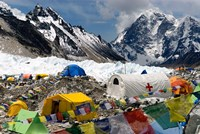 Tents of Mountaineers Scattered along Khumbu Glacier, Base Camp, Mt Everest Fine Art Print
