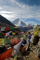Prayer flags, Everest Base Camp Trail, peak of Ama Dablam, Nepal Fine Art Print