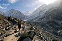 A trekker on the Everest Base Camp Trail, Nepal Fine Art Print