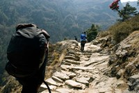Trekkers on the trail towards Namche Bazaar, Khumbu, Nepal Fine Art Print