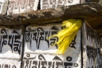 Prayer flag and Mani Stones, Buddhist Mantras, Khumbu, Nepal Fine Art Print
