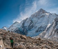Trekkers and porters on a trail, Khumbu Valley, Nepal Fine Art Print