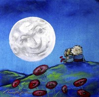 Moon Gazing Together Fine Art Print